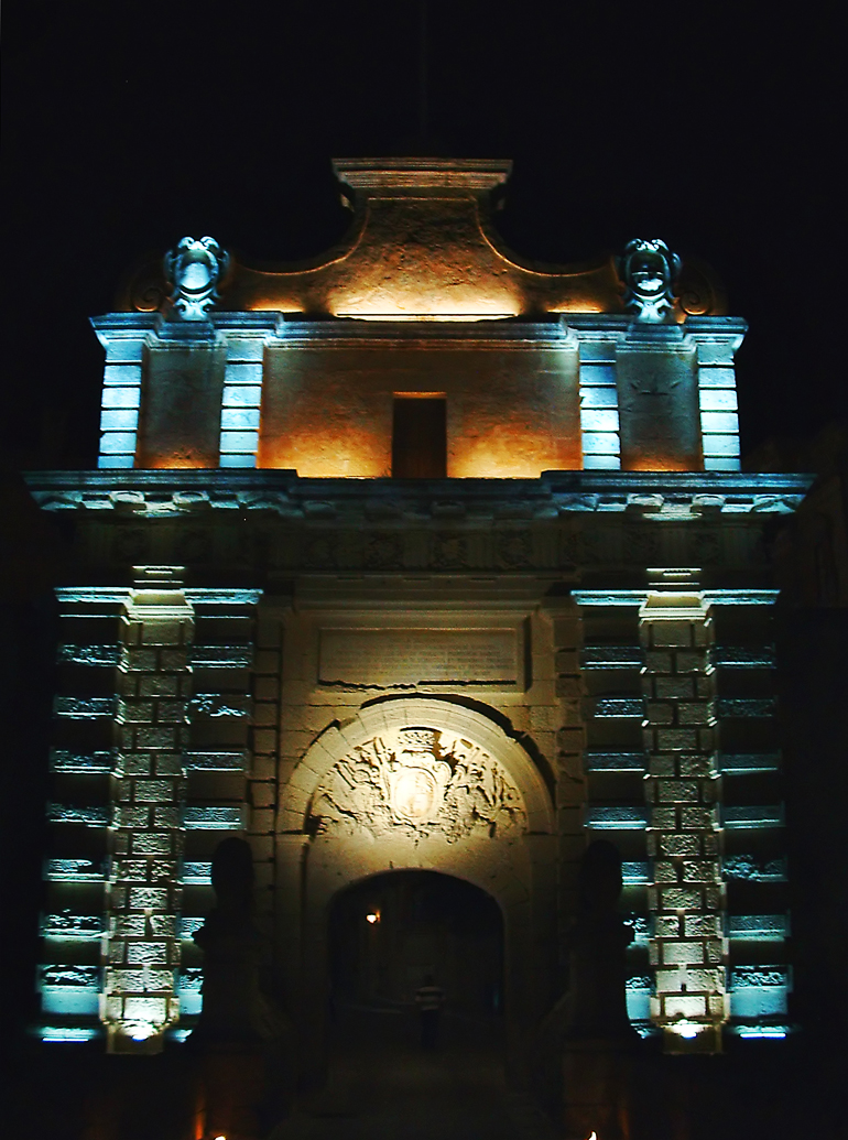 Mdina gate at night